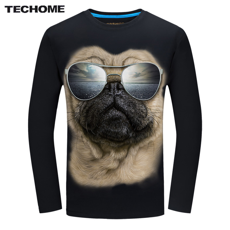TECHOME 2017 Fashion Brand Men's T shirt 3D Glasses Dog Print T shirt Summer Long Sleeve Shirts Tops M~6XL Big Size Cotton Tees