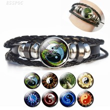 2019 Fashion Leather Bracelet Yin Yang Jewelry Tai Chi Glass Cabochon Snap Woven Leather Bracelet Gifts For Men Boyfriend Father(China)