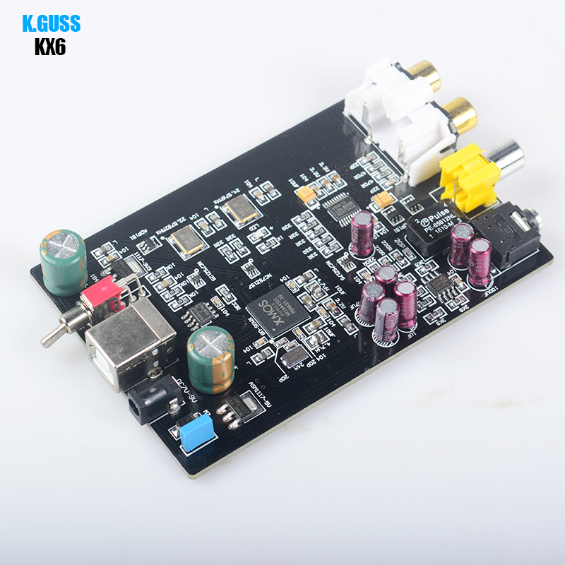 K.GUSS KX6 USB DAC HIFI XMOS U8 PCM5102 TDA1308 sound card board audio amplifier board support 32BIT 384K with Headphone Output
