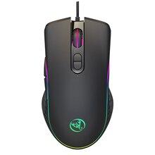 DASENLON mağaza HXSJ kablolu oyun faresi, kaliteli fareler ofis bilgisayar fare RGB arkadan aydınlatmalı ayarlanabilir DPI Max 6400
