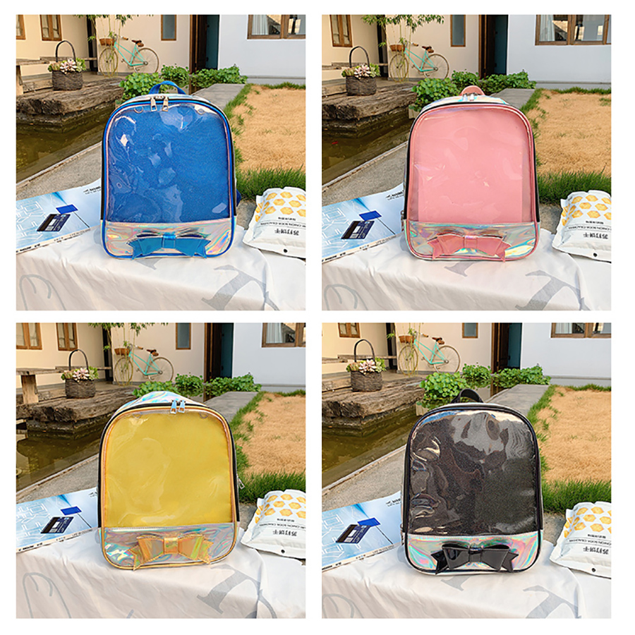 Fashion Laser Transparent Women Backpacks Cute Bow Ita School Bags for Teenage Girl Clear Pvc Waterproof Jelly Ladies Backpack