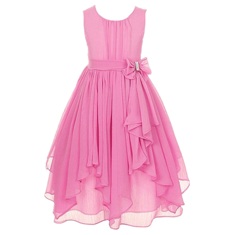 Dresses For Girls Asymmetric Ruffled 12 Colors Chiffon Princess Dress Age 3 to 14 Years Flower Girl Dresses For Party Wedding