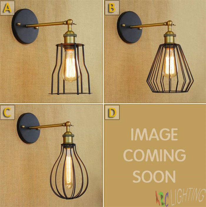 ФОТО Retro Industrial Metal Cage Corridor lamp loft Wall Sconce lamp Fixture apliques led pared indoor lighting up and down wall lamp