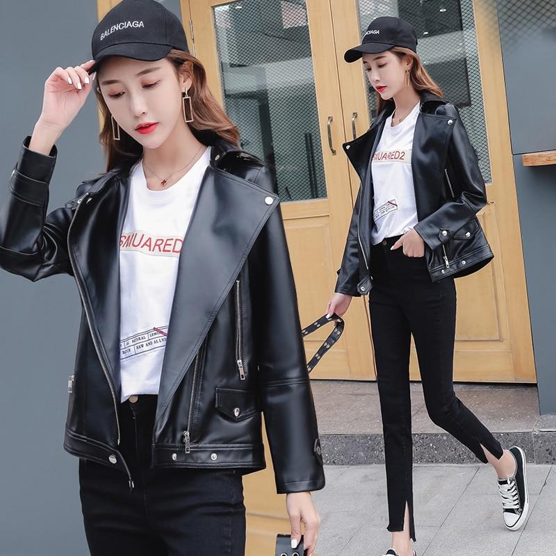 En Court Mode Femmes De Noir Vestes Cuir 2018 Moto Femelle Plus Manteau Veste taille 5xl 1v0Zn5wq
