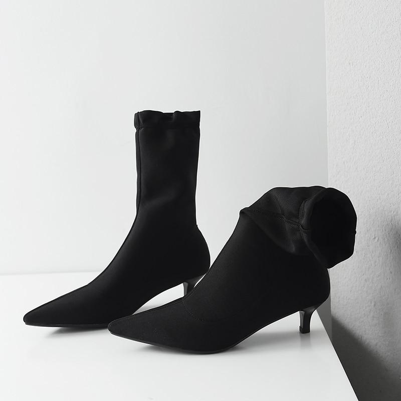 Botas Slip Tobillo Señoras Estrecha Elástico Mujeres on Tejido Otoño Corto Bajo Negro Delgado Black Venta Marca Elegantes Tacón Zapatos Punta Diseñador tn87zqf