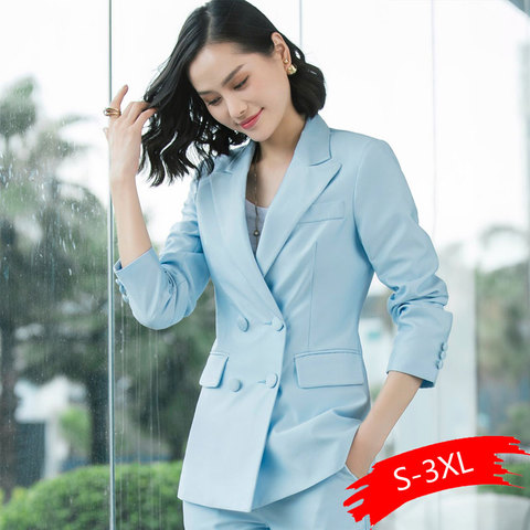 2019 New Office Work Blazer Suits Of High Quality OL Women Pants Suit Blazers Jackets With Trouser Two Pieces Set Red Pink Blue Karachi