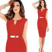 Hollow Out Sleeveless Pencil Dress