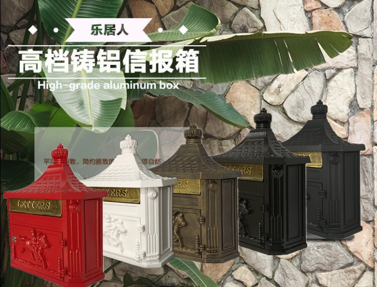 Rustic Aluminium alloy Mail Box Mailbox Metal Letters Post Box Wall Mounted Country Home Decor Garden props