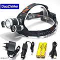 LED Headlamp 8000 Lumens Head lamp T6 3 LED Headlight head torch flashlight with 18650 Rechargeable battery pack USB for 2017