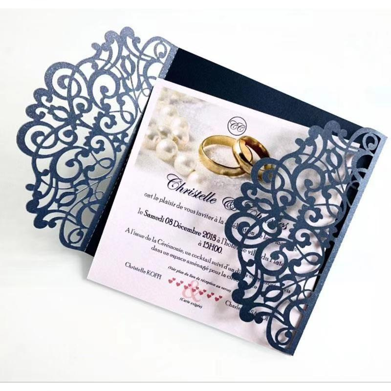 10pcs Luxury Navy Blue Wedding Cards Wedding Invitations with ribbon Blank inner Hot sale Greeting Card Universal in Cards Invitations from Home Garden