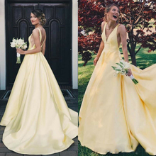 Yellow V Neck Prom Evening Dresses Long Satin Formal Backless Party Pageant Gown