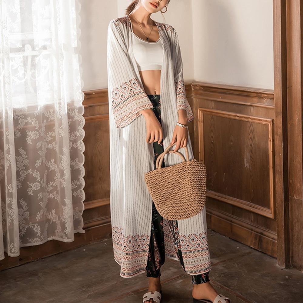 Casual Striped Beach Kimono Boho Loose Long Sleeve Summer Cardigan Cotton Chiffon Shirt Bohemian White Blouse For Women