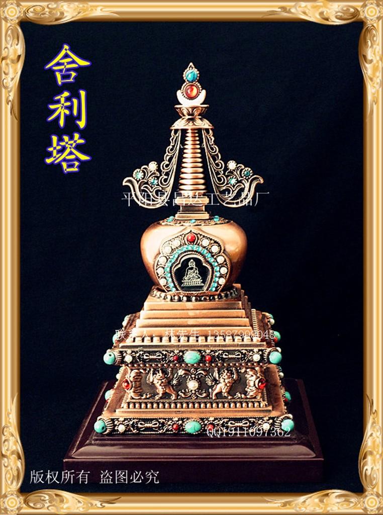 Buddhist supplies decoration craft gifts, Buddha stupa tower, with hidden zinc gilt copper Buddha