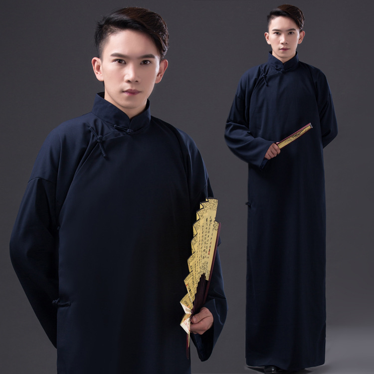 Youth Stage Performance Gown Robe Republic Of China Men's Wear Student  Retro Chinese Style Mandarin Collar Ancient Long Robe
