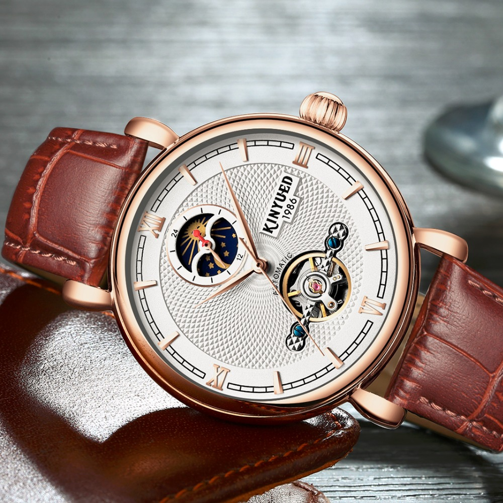 KINYUED Luxury Moon Phase Automatic Watch Men Skeleton Rose Gold Leather Band Mechanical Business Watches Relogio Masculino baogela men watch skeleton automatic mechanical leather band mans fashion business watches