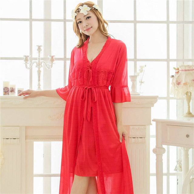 Free shipping women lace Large size nightdress pajamas plus size robe sets bathrobe Sleepwear nightgown night dress red Y225