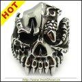 Мужчины Серебряные ТЕ Кольца Из Нержавеющей Стали Рок Инопланетные Монстры Зубы Ужасный Кольца Черепа Готический Jewely 60D