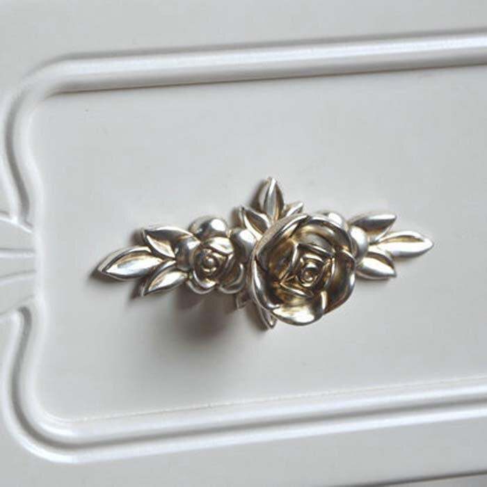 2pcs Antique Silver Rose Shape furniture handle Kitchen Cabinet ...