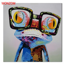1Pc Glasses Frog Abstract Canvas Painting HD Printed Animal Home Decor Unframed Wall Picture For Living Room Cuadros Decor 2017(China)