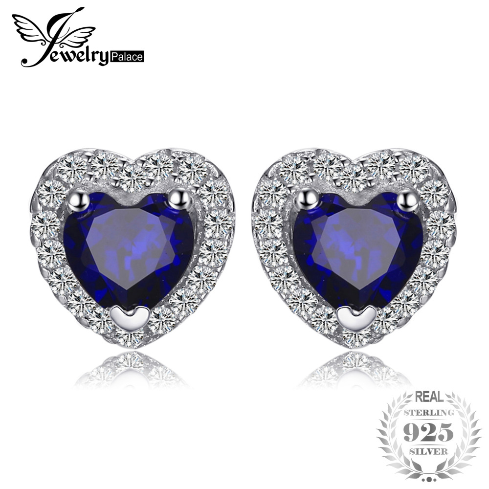 JewelryPalace Heart Of The Ocean 1.2ct Created Blue Sapphire 925 Sterling Silver Stud Earrings For Women Fashion Vintage Jewelry цена
