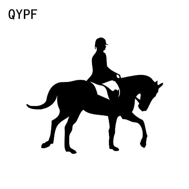 QYPF 14.6*12.4 CM Benzersiz Prairie Atlı Spor Dekor Araba Styling Sticker Siluet Vinil C16-0935