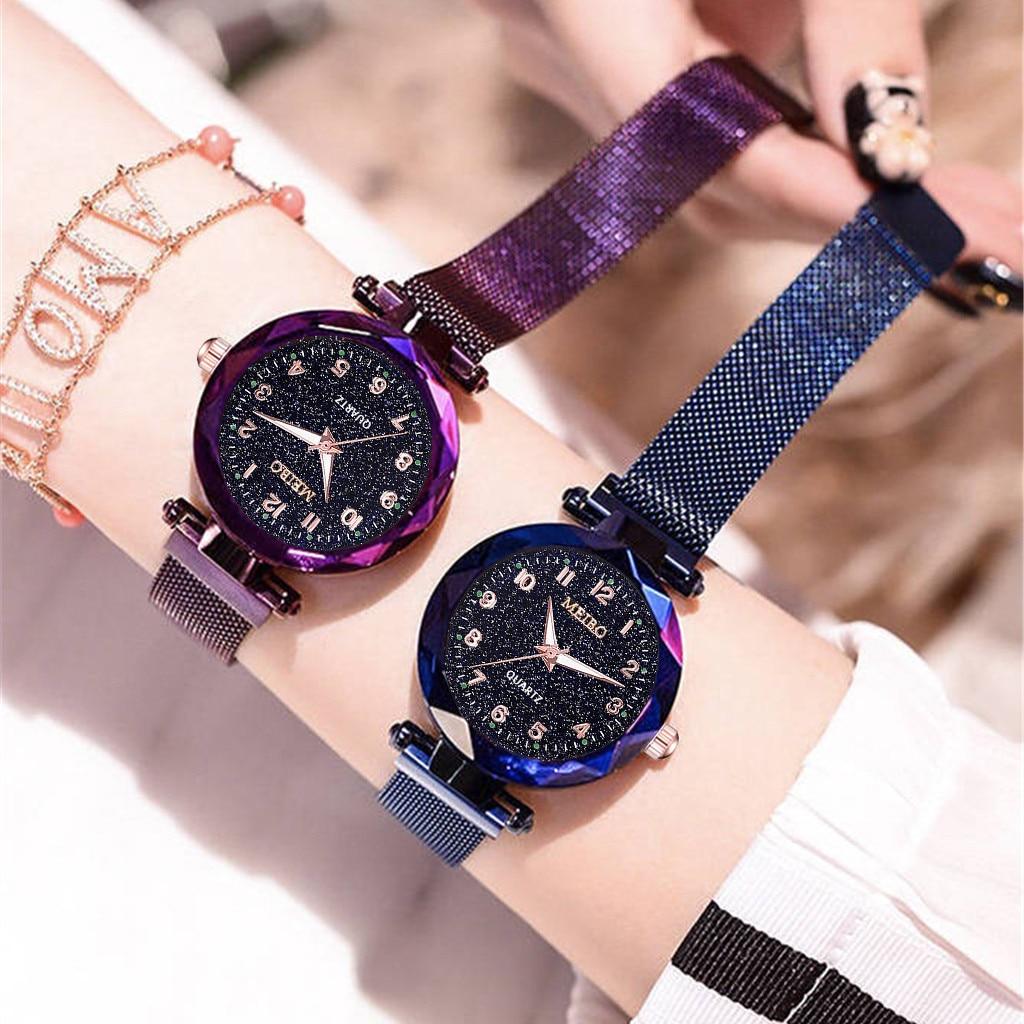 Luxury Brand Women Watch Magnet Buckle Steel Mesh Belt Bracelet Watches Starry Sky Quartz Wristwatch Clock Gift Reloj Mujer #W