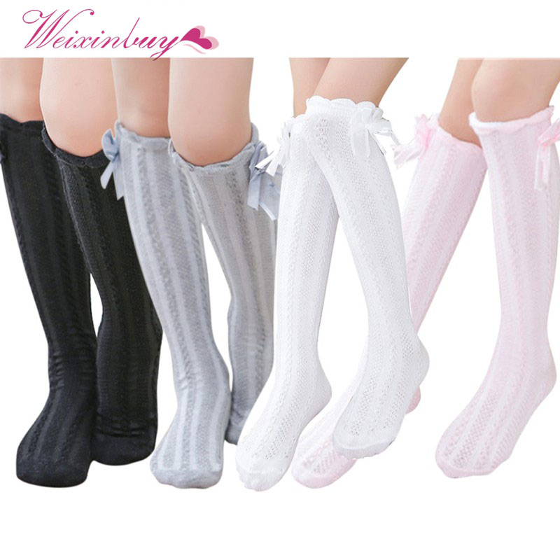 Cute Cartoon Cotton Baby Kids Girls Stocking Toddlers Knee High Socks Tights Bow Warm Floral Stocking HOT