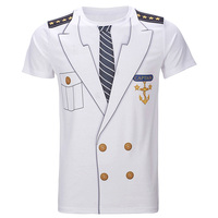 Men Captain Uniform 3D T Shirt Adult Man Cosplay Costume Top Short Sleeve Summer