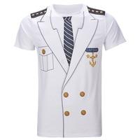 Men Captain Uniform 3D T Shirt Adult Man Cosplay Costume Top Short Sleeve Summer