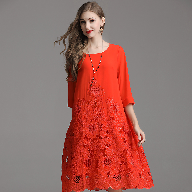 Женское платье с вышивкой в стиле пэчворк, синее, оранжевое, красное платье, лето 2019 - 4