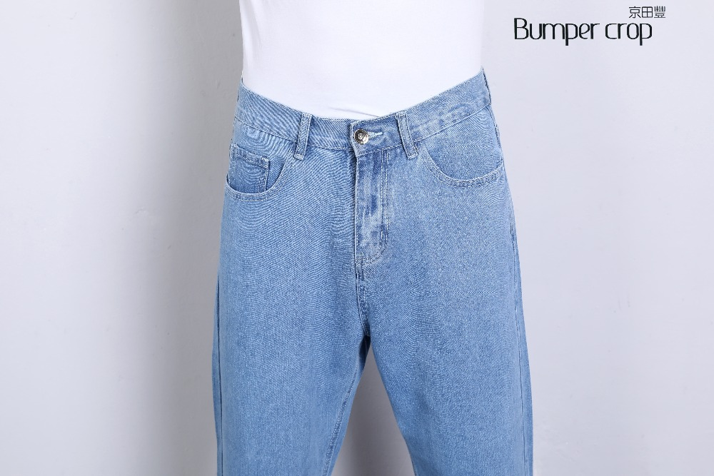 BUMPERCROP japanese denim men jeans blue two color fashion Straight blue High Normcore boot cut Casual trousers denim 2018 new
