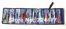 10 pcs Mixed Suit with Bag Soft Double Octopus Skirt Baits Sea Trolling Fishing Lures Resin Head