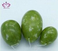 [Fly Eagle] precio al por mayor verde oscuro natural de piedra de jade kegel huevo 100/set piezas por juego yoni huevos