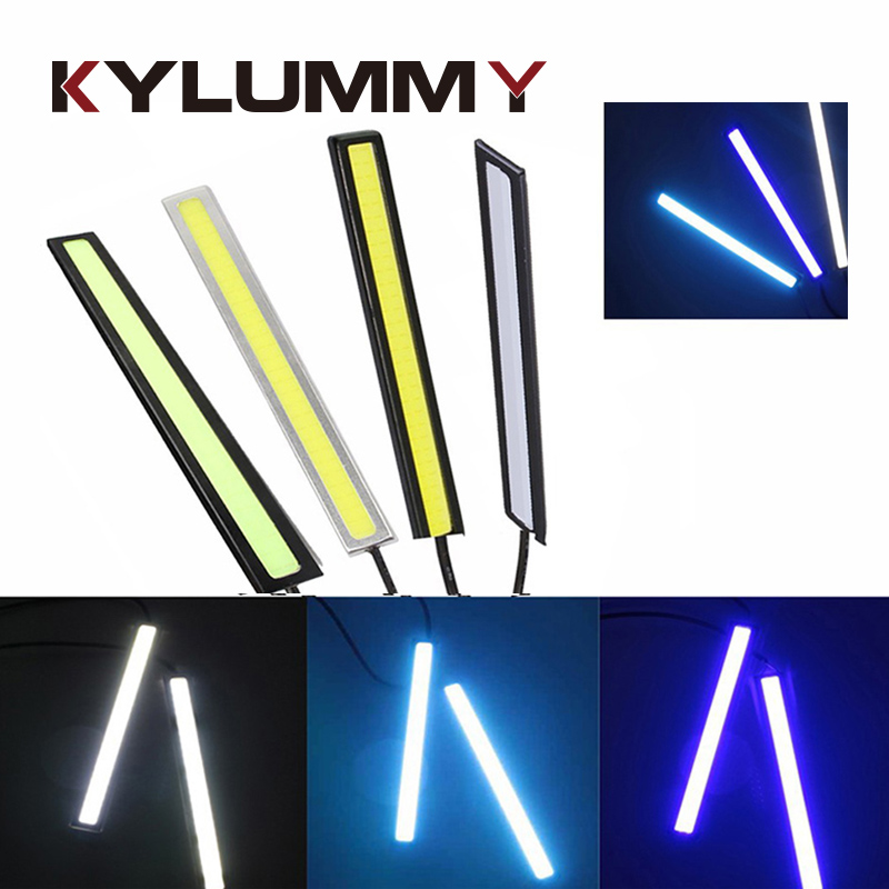 2 Pcs 17cm COB LED DRL Strip Day Light Daytime Running Lights 12V 5W LED Bar Aluminum Stripes Panel Car Working Lights