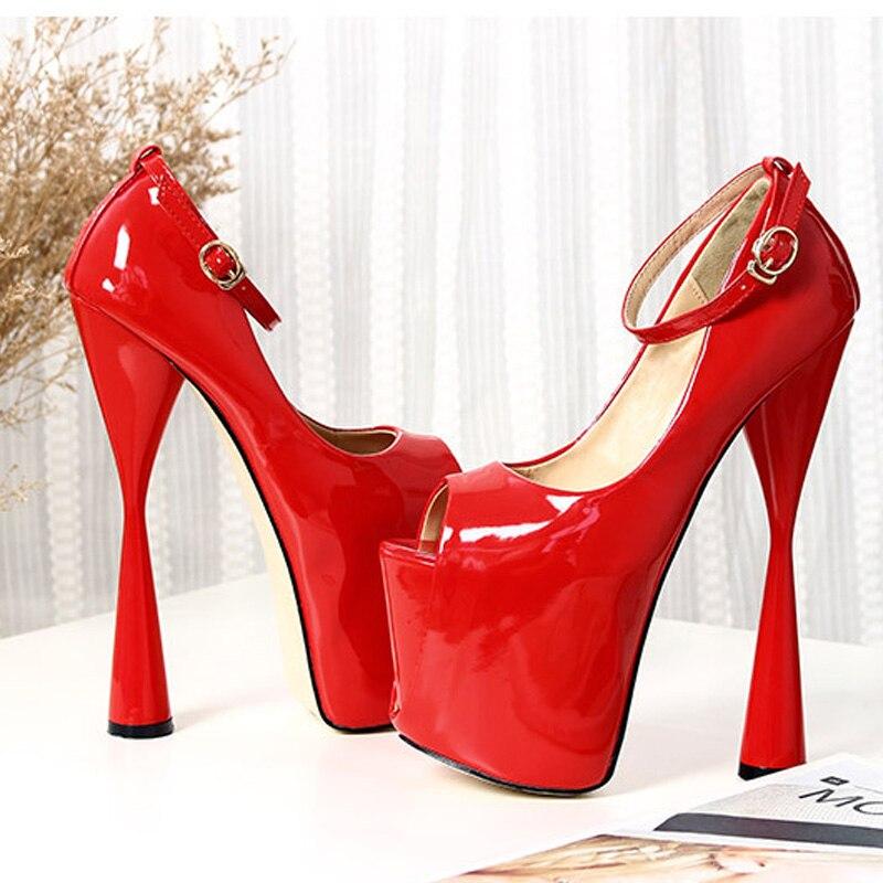 Plus Beckywalk Haute Feminino Chaussures 43 Plate Printemps De forme Peep Mariage Wsh2623 Toe Femmes Parti Taille Pompes rouge Sapato Talons Été Noir ax0ZIaqrw