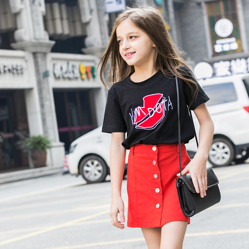 2016 latest fashion kids summer t shirt baby girl black for Cool t shirts for 12 year olds