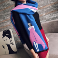 2016 New Women Winter Scarf Dress Girl Pashmina Blue Pink Double Side Color Wrap