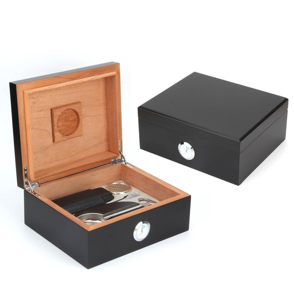High grade quality black cigar humidor box with hygrometer include cigar cutter,small humidor ,humidifier and ashtray
