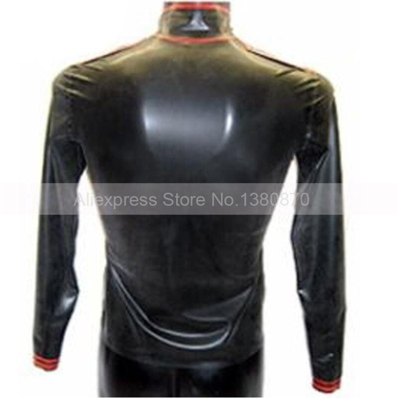 Preto e Vermelho Apara ManTop Peluches Bodysuit Zentai De Borracha Camisa Mangas Compridas Masculino de Látex com Zíper Frontal S LSM012 - 2