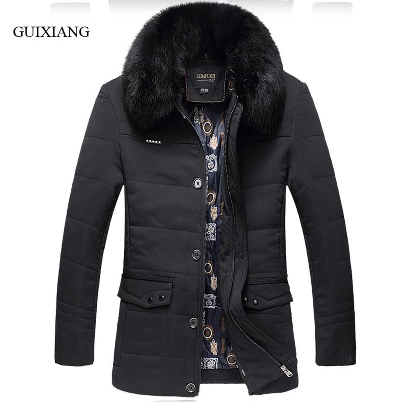 New winter style men boutique parkas business casual detachable big hair collar mens solid thick cotton clothes large sizeL-4XL