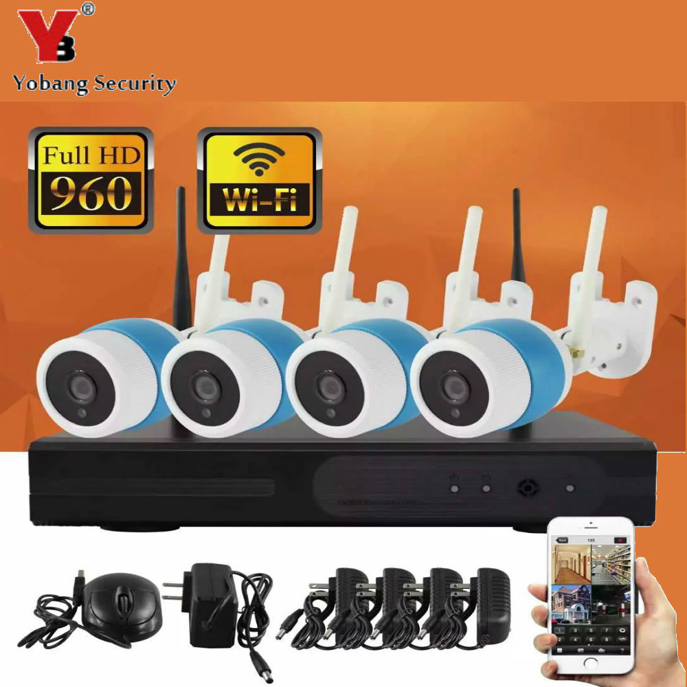 YobangSecurity 4CH 960P Wireless Security CCTV Surveillance Systems WIFI NVR Kit 4X 1.3MP Wireless WIFI Indoor Outdoor IP Camera