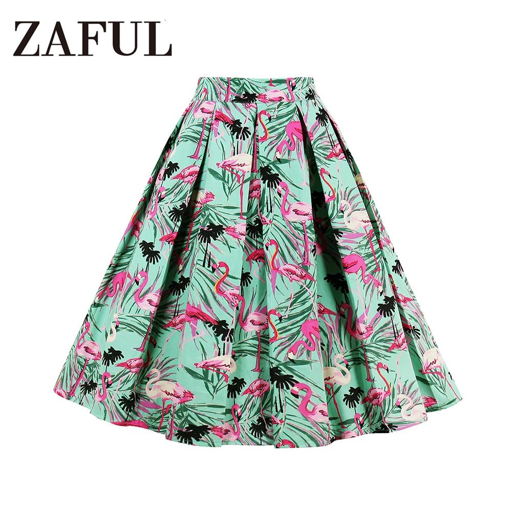 ZAFUL Cotton Women Retro Skirts 50s 60s Vintage Rockabilly Swing Feminino  Skirts High Waist Flamingo Print Casual Tutu Skirts 13.35 € 668e3c1e3c2c