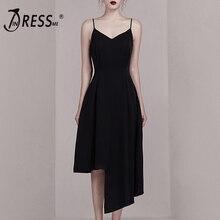 INDRESSME 2019 New Classic Round Neckline Sleeveless Midi Dress Fringe Party Dress Asymmetrical Hemline Summer Vestidos