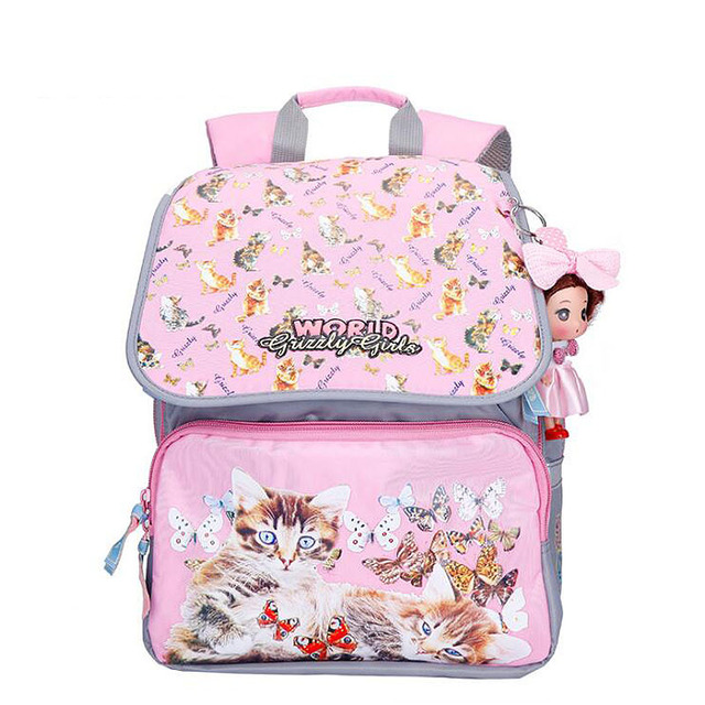 High quality Grizzly Children Primary School Bag Bookbag Infantil Backpack for Girls Cartoon Pattern Waterproof Mochila