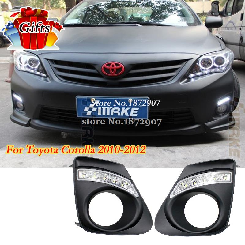 ФОТО Free shipping 12V DRL LED Car light DRL Daytime Running Lights For Toyota Corolla 2011 2012 2013  with fog light