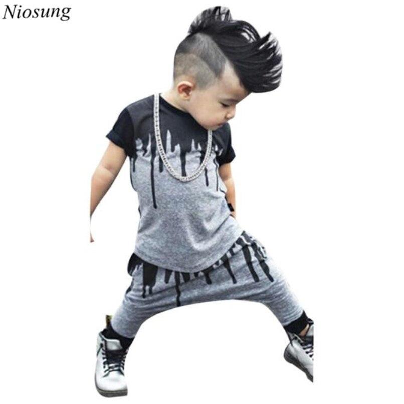 963b75b6e Niosung الجديد 1 مجموعة الرضع طفل رضيع الفتيان الفتيات المطبوعة قصيرة  الأكمام t-shirt أعلى + سروال تتسابق الملابس للأطفال الأطفال