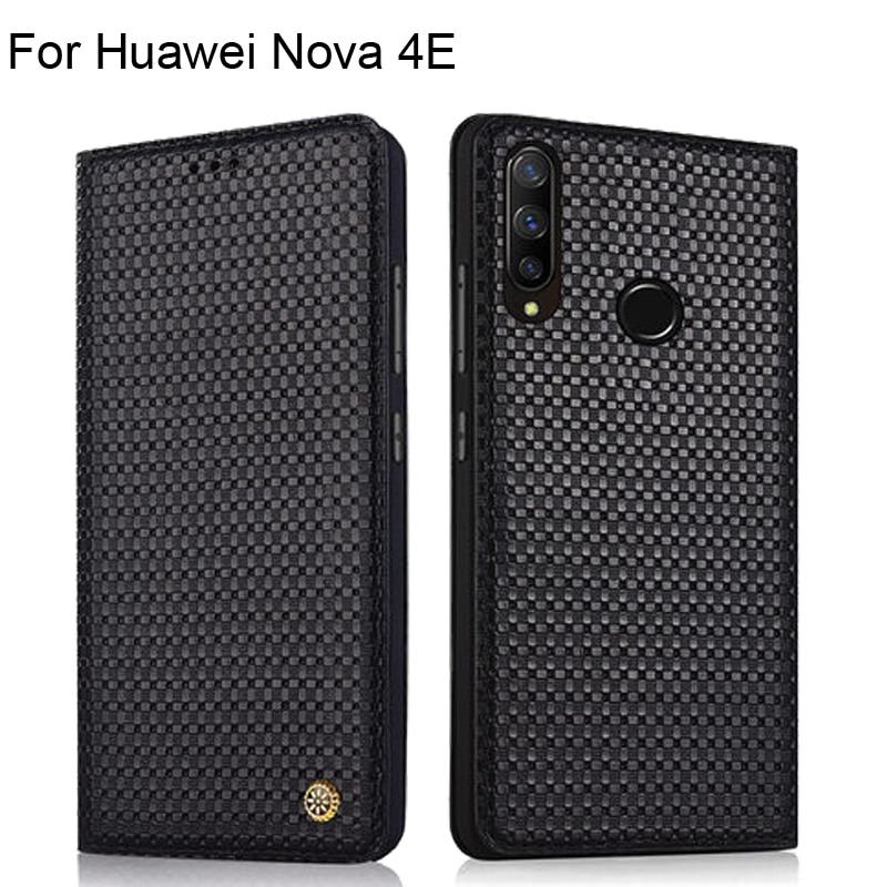 Case For Huawei Nova 4E Luxury Genuine Leather Woven Pattern Cases For Huawei Nova 4E Full Back Cover protective Nova4E