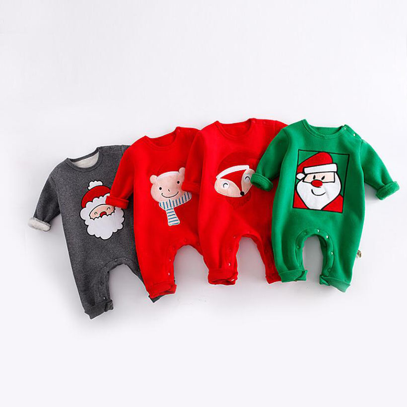 Christmas Baby Rompers Winter Velvet Baby Clothing Overalls For Newborn Baby Clothes Boy Girls Boys Romper Ropa Bebes Jumpsuit baby clothes baby rompers winter christmas costumes for boys girl zipper rabbit ear newborn overalls jumpsuit children outerwear
