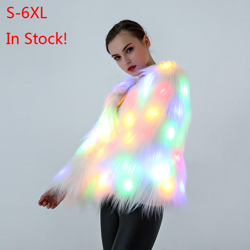 LED Fur coat stage costumes Women Christmas costume LED luminous clothes jacket Bar dance show faux fur coats star nightclub