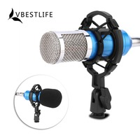 VBESTLIFE Condenser Microphone Audio Recorders Music Sound Recording Mic With Shock Mount For Radio Station Computer